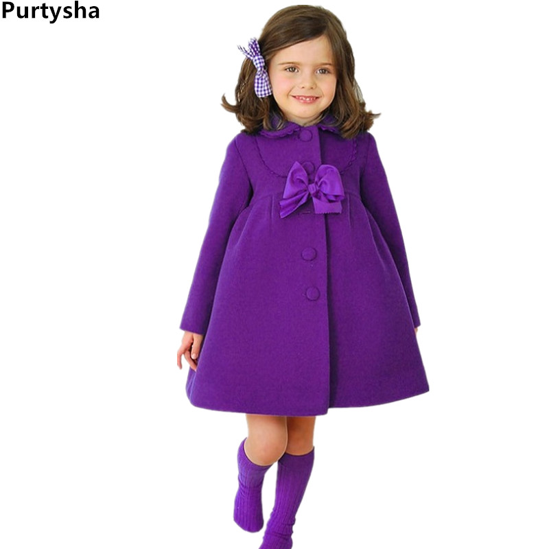 Girl Coat Fashion Bowknot Long Sleeve Spring Autumn Rabbit Jacket For Girls Violet Wool Wind Coats Children Outerwear 2-8 Years
