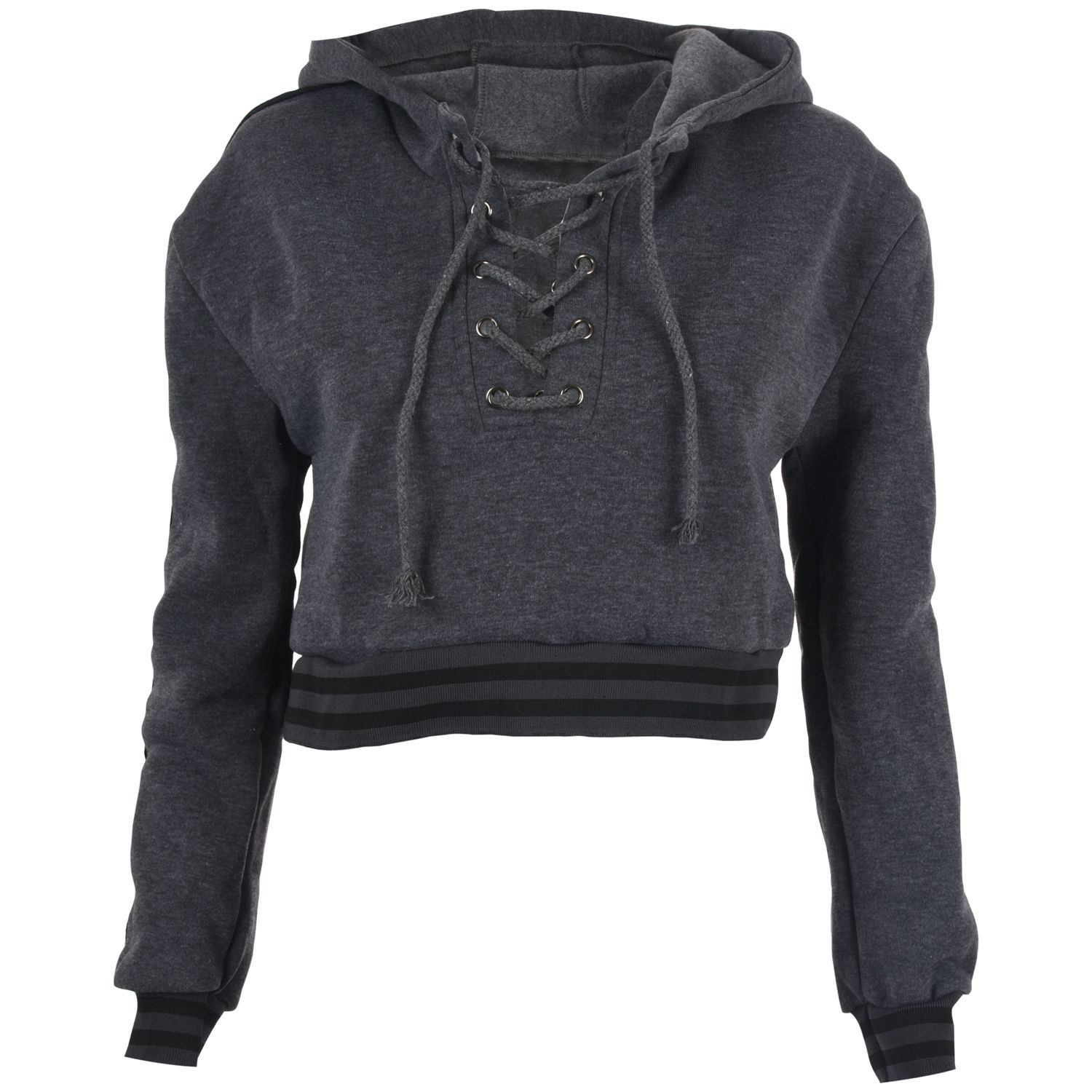Women's New Fashion Hoodies Sweatshirt Long Sleeve Lace-Up V-Neck Pullover Sweatshirt Bandage Hoodie Short Tops