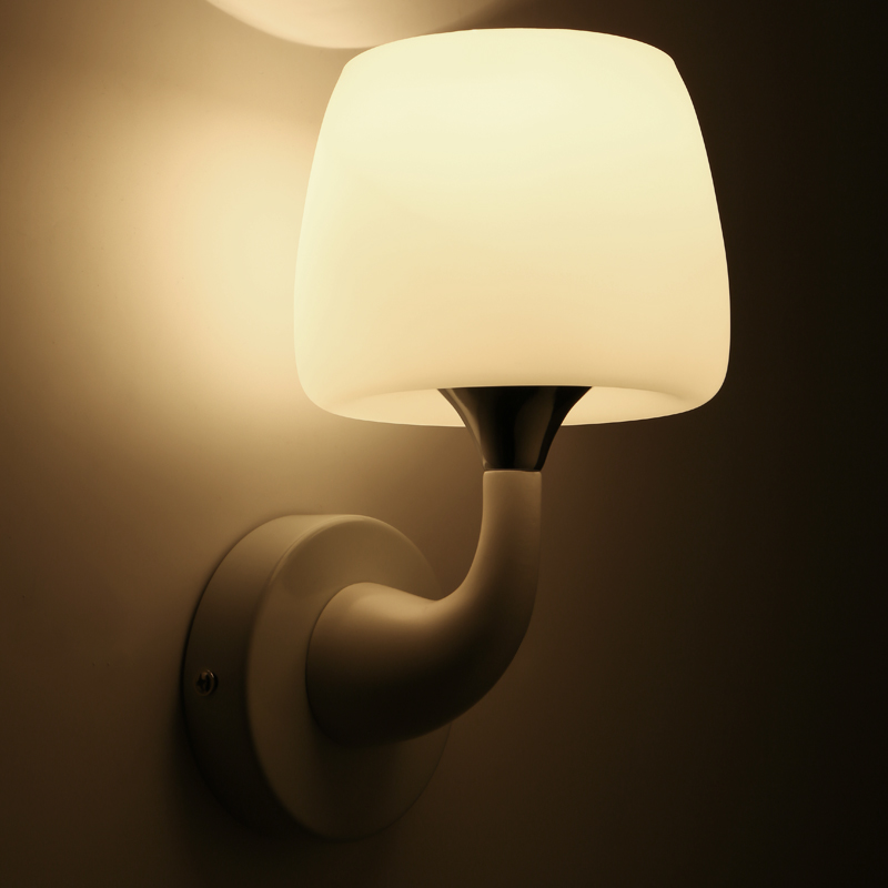 White lacquer mushroom wall lamp frosted glass cover bedroom headlamp corridor light decorations 6013 one light frosted glass antique rust hanging lantern