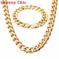 Granny Chic JEWELRY SET 13/15mm Mens Chain Boys Necklace Curb Cuban Silver Black Rose Gold Stainless Steel Necklace Bracelet Set