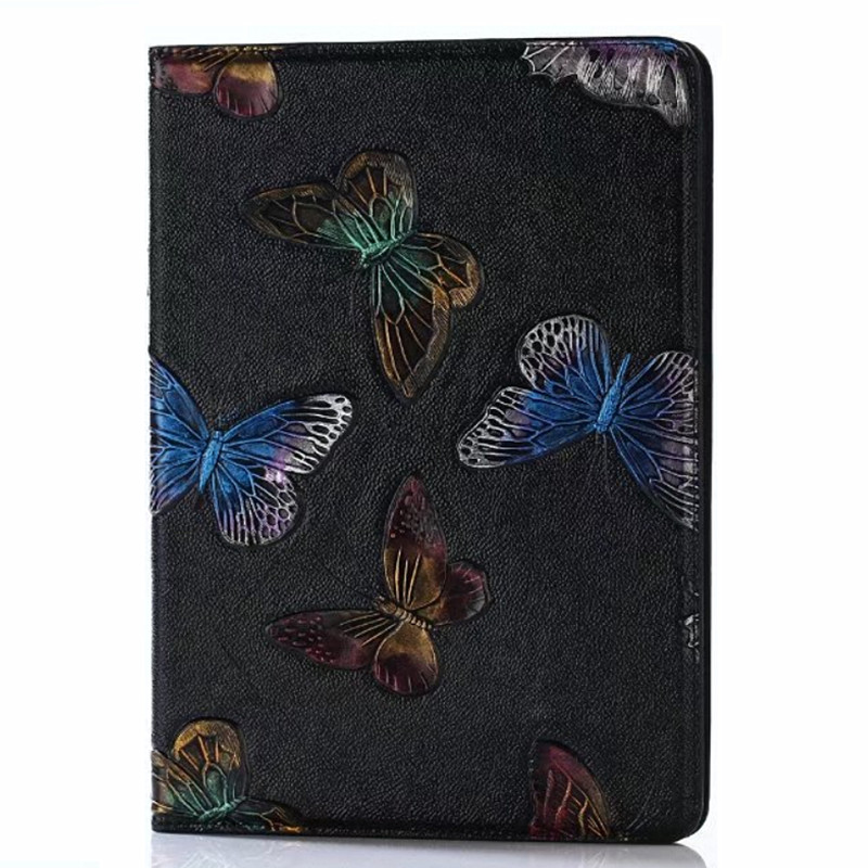 3D Butterfly Wolf Flower Skull Design Luxury Flip Leather Case for New iPad 9.7 2017 iPad Air 1 2 iPad Pro 9.7 Stand Cover for ipad air glittery powder imprint butterfly flower leather smart casing rose gold