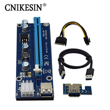 Фотография CNKESIN PCIe PCI-E PCI Express Riser Card 1x to16x USB 3.0 Data Cable SATA to 4Pin IDE Molex Power Supply for BTC Miner Machine