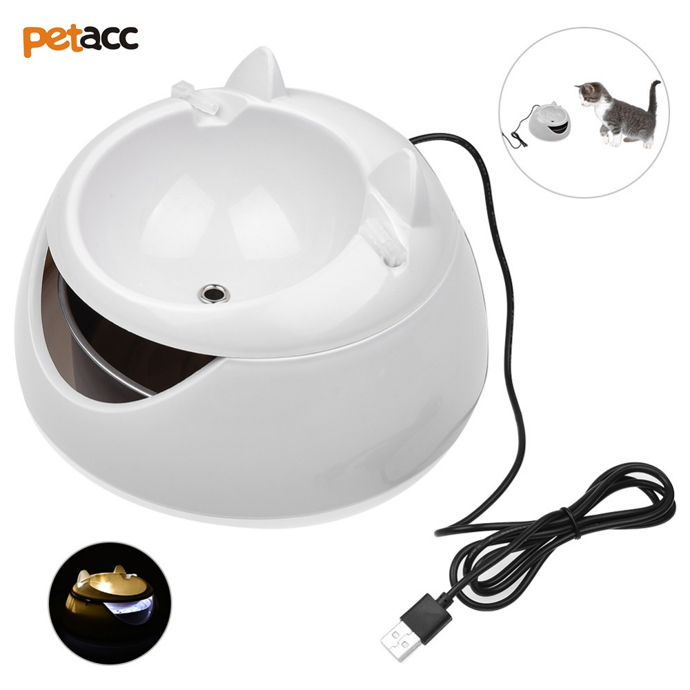 Petacc Pet Water Fountain Cat Drinking Fountain Electric Cat Water Dispenser With Night Light