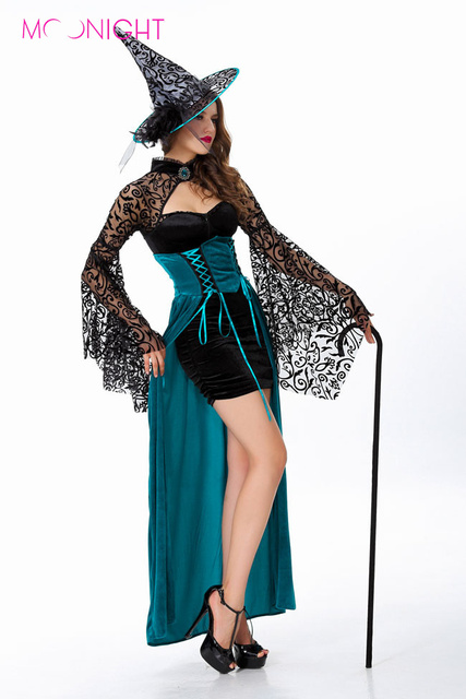 Amazing MOONIGHT Pretty Nifty And Dark Green Witch Costume, Bright Beautiful Witch,  Masquerade Party Halloween Costumes