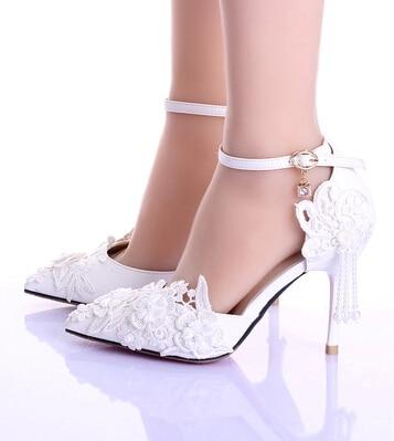 Summer new font b women b font white wedding shoe lace flower tassels ankle strap bride