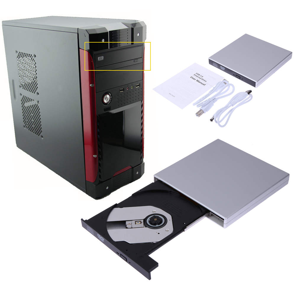 USB2.0 External DVD Combo CD-RW ROM Burner Drive 24x CD-ROM Read 24x CD-R Write Speed External Drive for PC/Mac/Laptop/Netbook