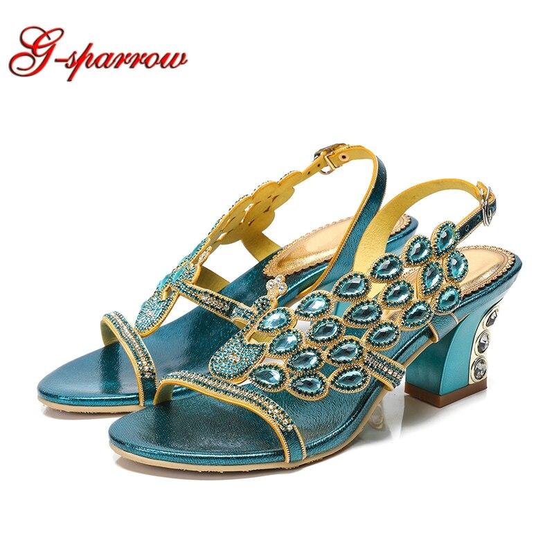 2019 새로운 샌들 여성 여름 라인 석 신발 오픈 발가락 다이아몬드 세련 된 두꺼운 뒤꿈치 여성 신발 청록색 블루 파티 샌들-에서하이힐부터 신발 의  그룹 1