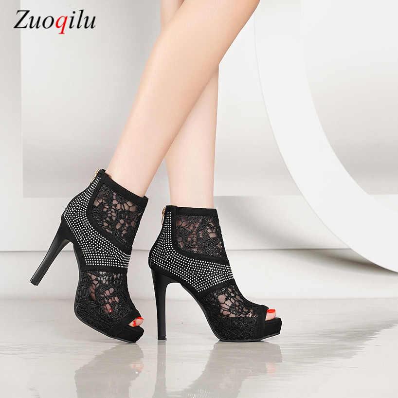 Peep toe taklidi yüksek topuklu bayanlar düğün ayakkabı seksi siyah yüksek topuklu parti ayakkabıları kadınlar için platform topuklu