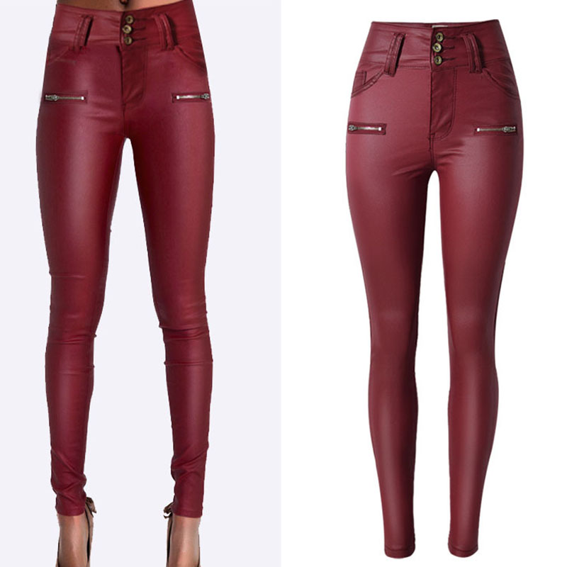 Fashion Women Coated Denim Jeans Leggings High Waist Elastic Faux Leather Pants Wine Red Female Slim Cotton Denim Pencil Pants