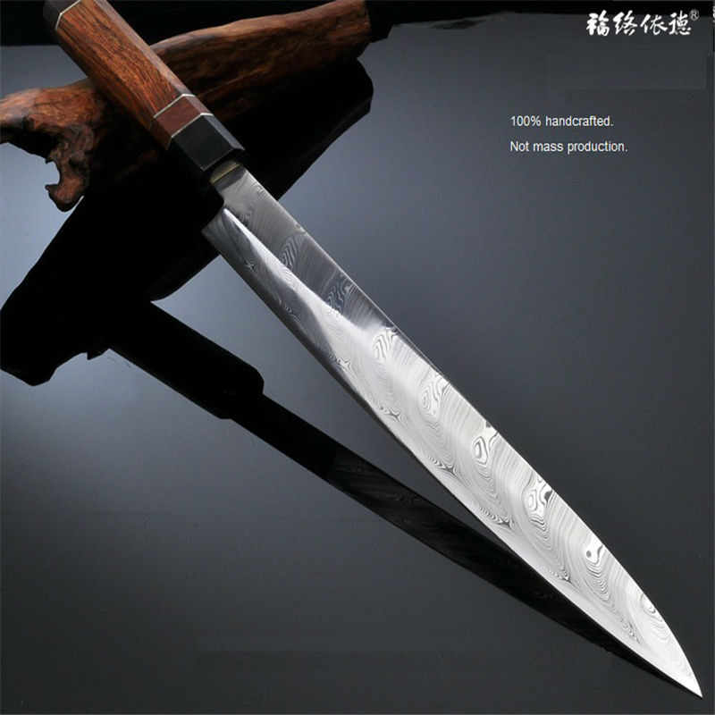 30cm Top Grade Swedish Powder RWL34 Sushi Sashimi Salmon Fish Fillet Knife  Damascus Natural Pattern Raw Wood Handle 1W