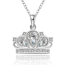 2016 new top quality Silver Plated & Stamped 925 lovely full crystal cap crown stone women necklace pendant jewelry trendy