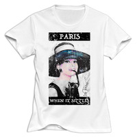 Gildan Women Audrey Hepburn Paris When It Sizzles Round Neck Girl Woman T Shirt O Neck