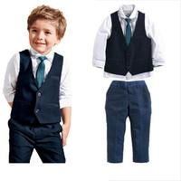 2016 Summer And Autumn Style Baby Boys Clothes Children T Shirt Vest Pants Tie Cotton School