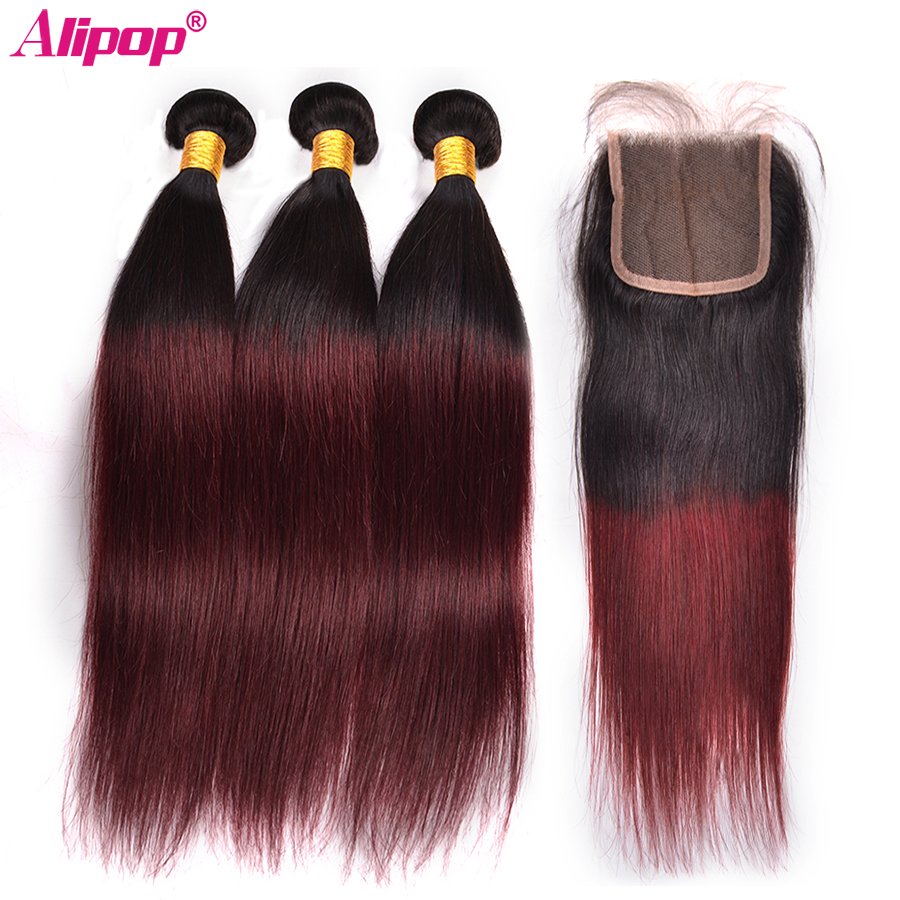 Pre Colored Ombre Peruvian Straight Hair Bundles With Closure 1B 99J Non Remy Human Hair 3