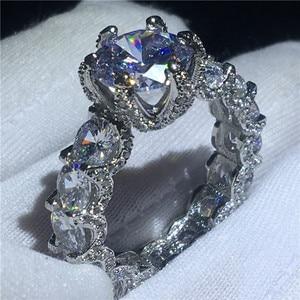 Image 4 - Choucong בציר פרח מבטיחים אצבע טבעת 925 סטרלינג כסף AAAAA cz אירוסין נישואים לנשים המפלגה תכשיטים