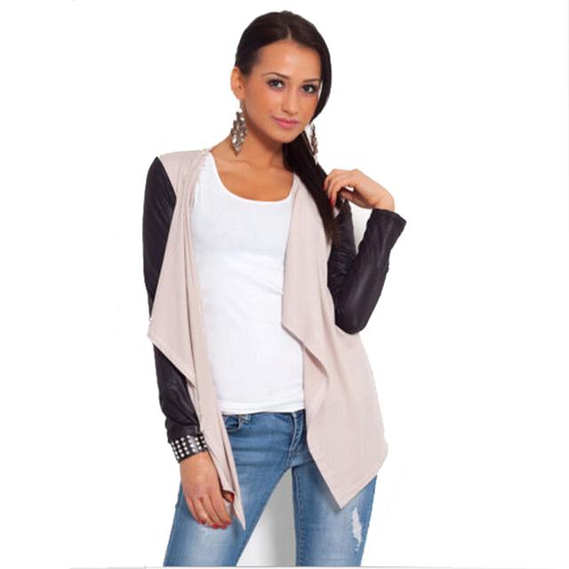 Nueva calle de la llegada desgaste 2015 otoño moda costura PU cuero de la manga del temperamento mujeres de la chaqueta de tejer