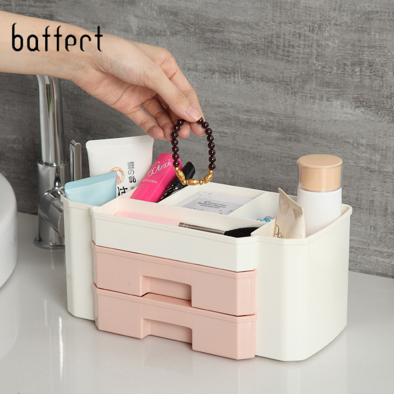 New Makeup Organizer Box Jewelry Necklace Nail Polish Earring Plastic Makeup Drawer Box Home Desktop Organizer For Cosmetics makeup organizer box
