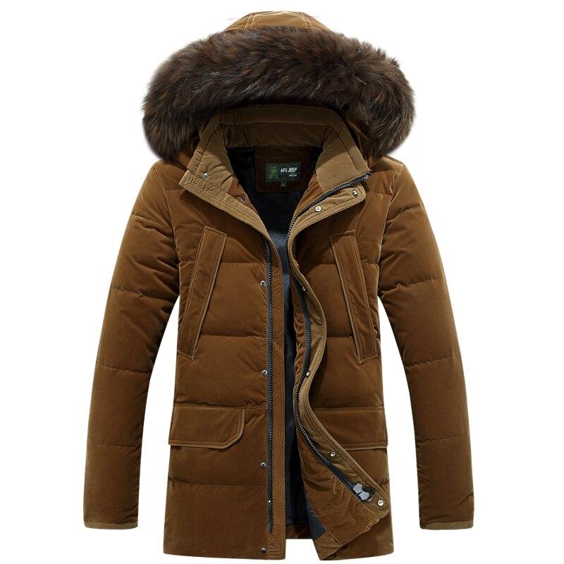 AFS JEEP Russia Winter Long Thicken Warm Down Jacket Men Medium L Fur Collar White Duck Down Coat Jacket Men -40 degree