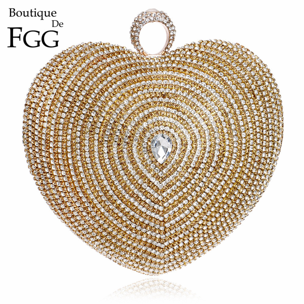 Formal Dinner Party Heart Crystal Evening Bag For Women Diamond Knuckle Box Clutch Bag Bridal Wedding Finger Ring Totes Handbags aidocrystal heart shape factory direct sell fashion woman diamond clutch for lady