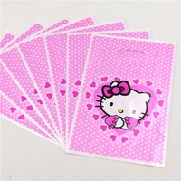 100pcs Lot Gifts Bags Plastic Disposable Birthday Party Decoration Hello Kitty Loot Candy Bag Kids Favors