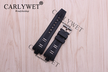 CARLYWET 26mm x 9mm Hot Sell Black Waterproof Silicone Rubber Replacement Wrist Watch Band Strap Belt Bracelet with Pin Buckle  все цены