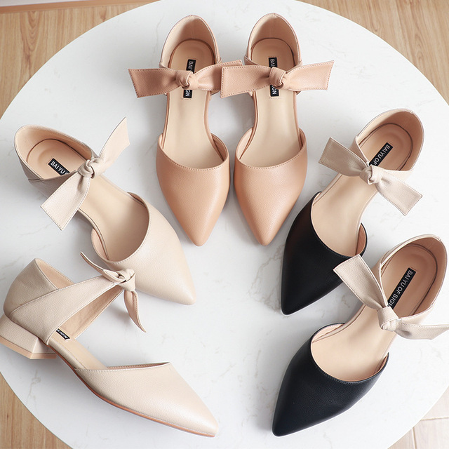 ankle leather bow-knot shoes woman low heel cut out pumps