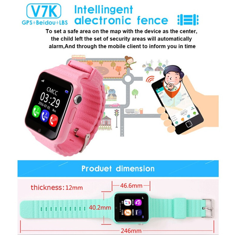 2017 GPS V7K Smart Watch Kids Waterproof with Camera facebook SOS Call Location DevicerTracker Anti Lost Monitor PK Q90 Q50 DS18 in Smart Watches from Consumer Electronics