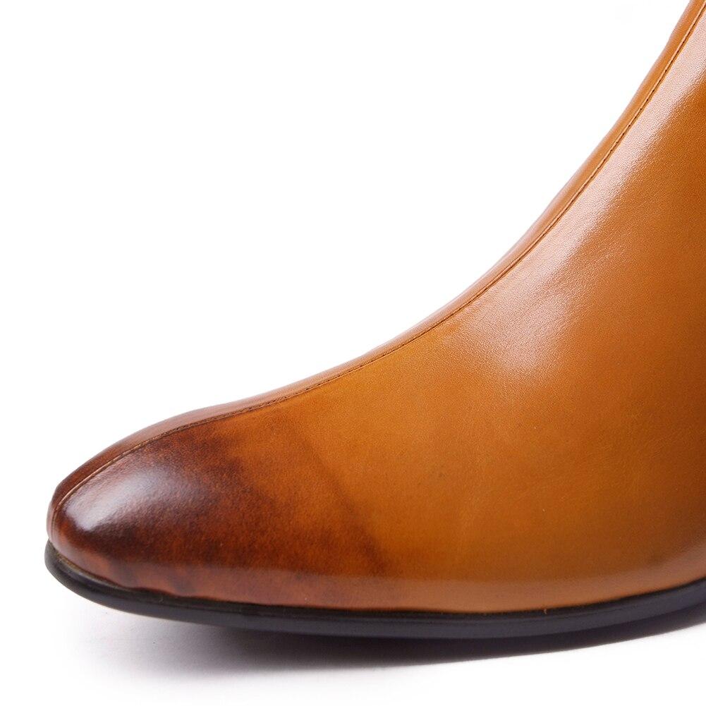 Nuevo Vaca Chakku Vestido Relieve 2018 Genuino Botas Chelsea Punta Zapatos Elástica Banda Boda Hombres Tobillo De Cuero Redonda ZwxnqqT41