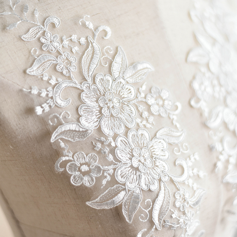 10 Pieces New Lace Trim Embroidery Applique Ivory White Collar Appliques Quality Lace Fabric For Sewing Accessories 30X12cm in Lace from Home Garden