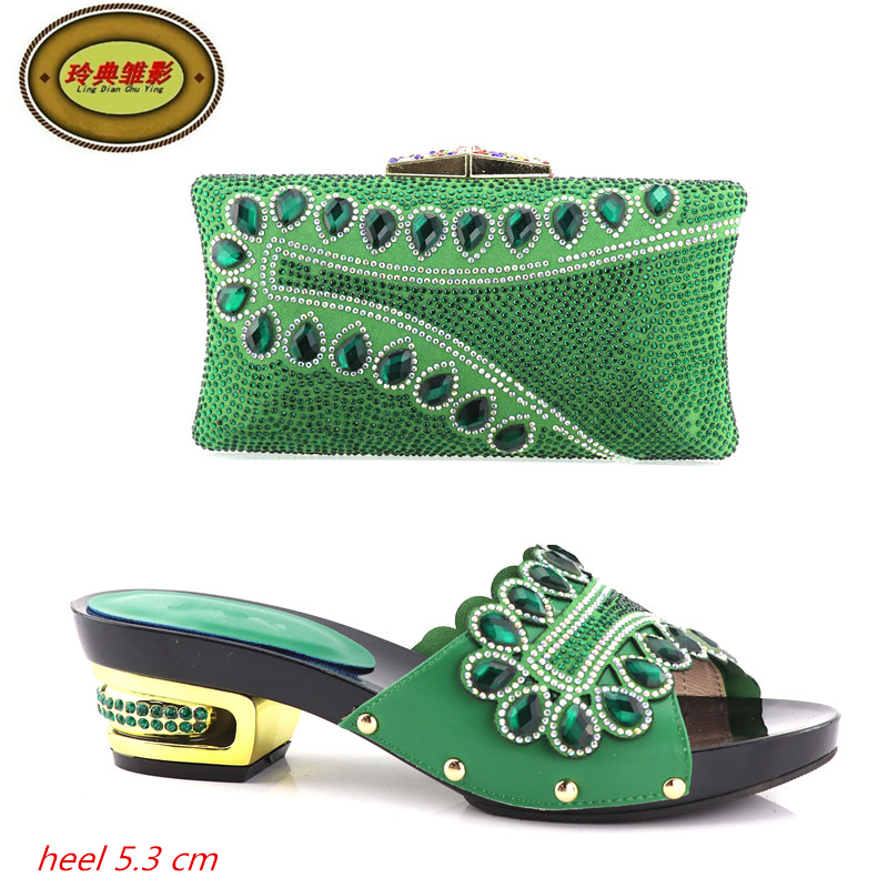 YH08 Green Latest African Wedding Pumps Matching Bag Hot Sale Full Stone Italian Shoes And Bag Set Free Shipping cd158 1 free shipping hot sale fashion design shoes and matching bag with glitter item in black