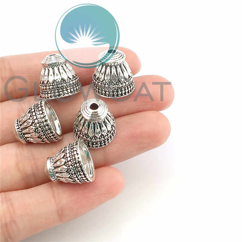 5pcs Necklace Cord Tips Antique Silver Plated Engraved Cone Beads Caps End Caps For Jewelry Making DIY Accessories 22347