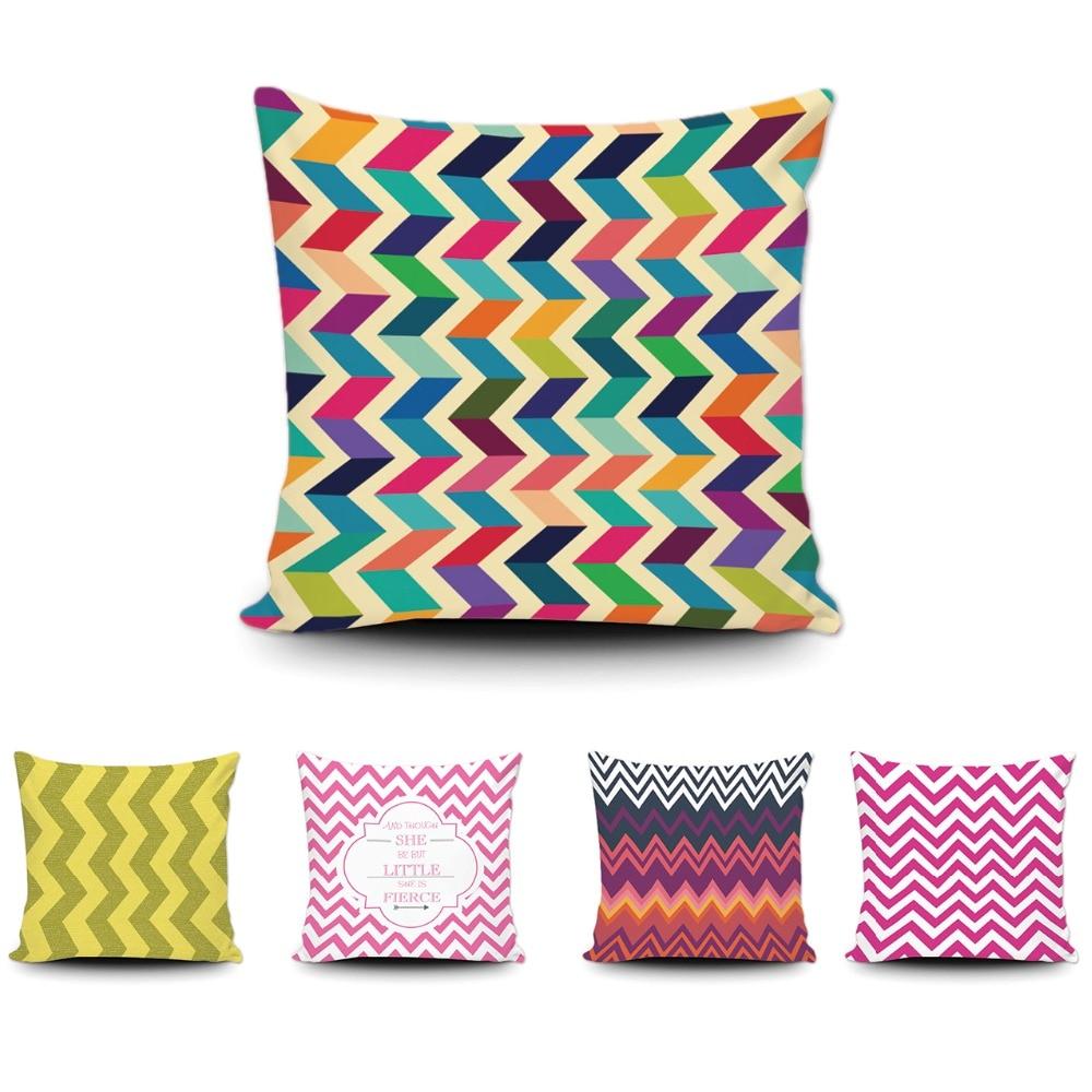 Fashion Cushion Cover Customize Wave Stripe Geometric Decorative Cotton Throw Pillow Case Creative Zigzag Decor Sofa Car Cover