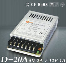 Bande lumineuse SMPS à double sortie, Ultra mince, 85 V - 264 V AC, entrée 5 V 12 V sortieD-20A, 5 V 2a 12V1A