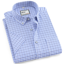 Mens 100% Cotton plaid Casual Shirt Fashion man short sleeve Oxford Shirts Brand Dress Summer