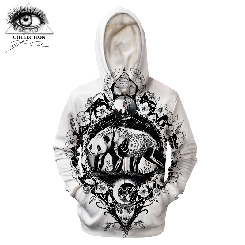 Panda By Pixie coldArt 3D Print Hoodies Men Women Casual Sweatshirt Tracksuit Brand Hooded Pullover ZipperJacket White DropShip