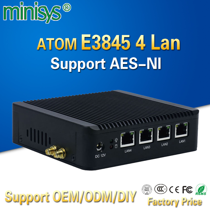 Pfsense fanless X86 mini pc VGA avec ATOM E3845 CPU 4 Lan routeur barebone nano itx ordinateur de bureau pour windows 7 4 go de ram AES-NI