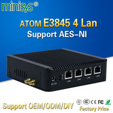 Pfsense fanless X86 mini pc VGA with ATOM E3845 CPU 4 Lan router barebone nano itx desktop computer for windows 7 4gb ram AES-NI(China)