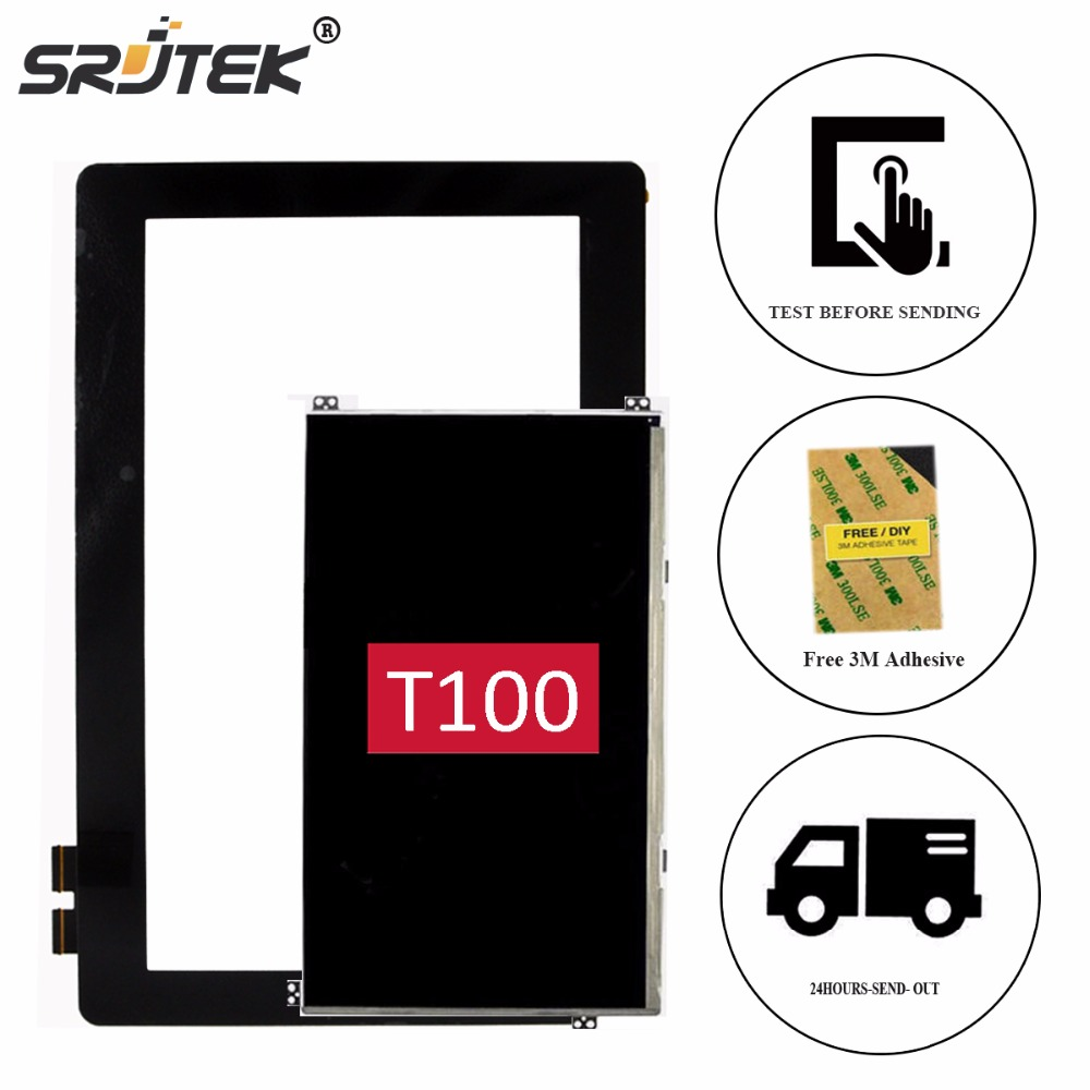 Srjtek 10.1 For ASUS Transformer Book T100 T100TA LCD Display Touch Screen Tablet Digitizer Glass Panel Sensor Replacement part new for asus eee pad transformer prime tf201 version 1 0 touch screen glass digitizer panel tools