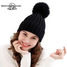 BINGYUANHAOXUAN Cute Fashion Newborn Baby Girl Boy Unisex Autumn Winter Women Imitation wool Cap Soft Knitted Wool Caps Pompom
