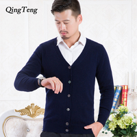 Pure Cashmere 100 Goat Sweater For Men Youth Korean Style Cardigan Male Wholesale Slim Wool Knitted Jacket Male Clothing Top
