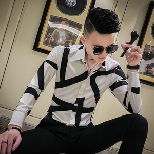 Image 4 - Top Quality Simple Men Shirts Brand Slim Fit Printing Shirt Men Long Sleeve Night Club Party Tuxedo Shirt All Match Blouse Homme