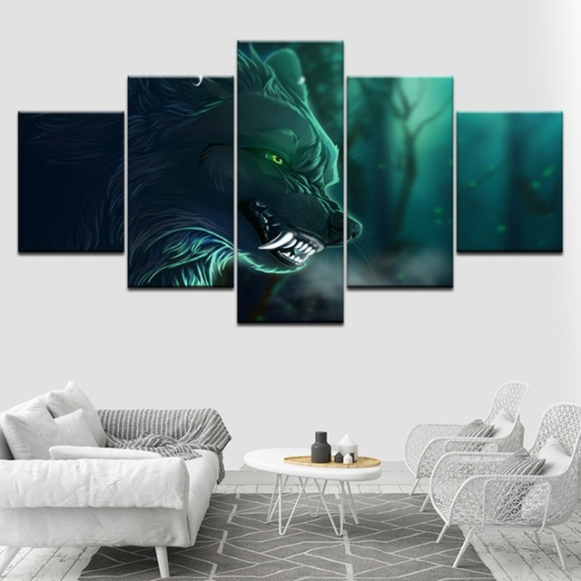 Us 6 1 47 Off Canvas Paintings Living Room Home Decor 5 Pieces Angry Night Wolf Fangs Posters Hd Prints Anime Pictures Modular Wall Art Frame In
