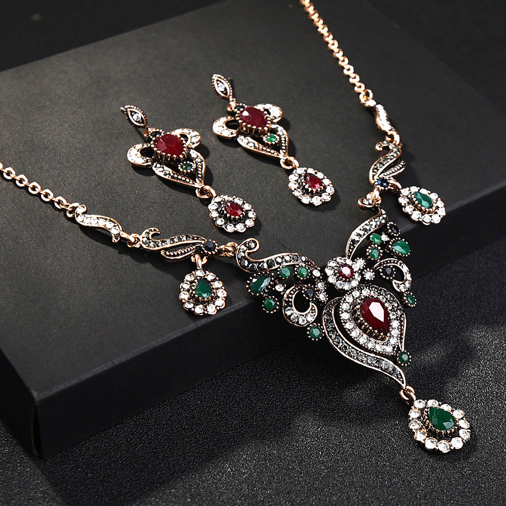 Turkish Flower Necklace Earring Sets Red Pendants Chains Resin Choker Vintage Women Wedding indian African Beads Jewelry Set vintage tiered geo beads layered teardrop resin rhinestone choker for women