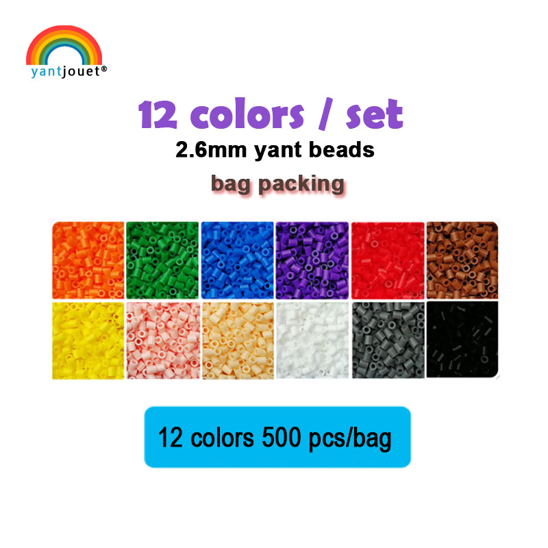 Yantjouet 2.6mm Yant Beads 12colors/set Black White For Kid Hama Perler Bead Diy Puzzles High Quality Handmade Gift Children Toy