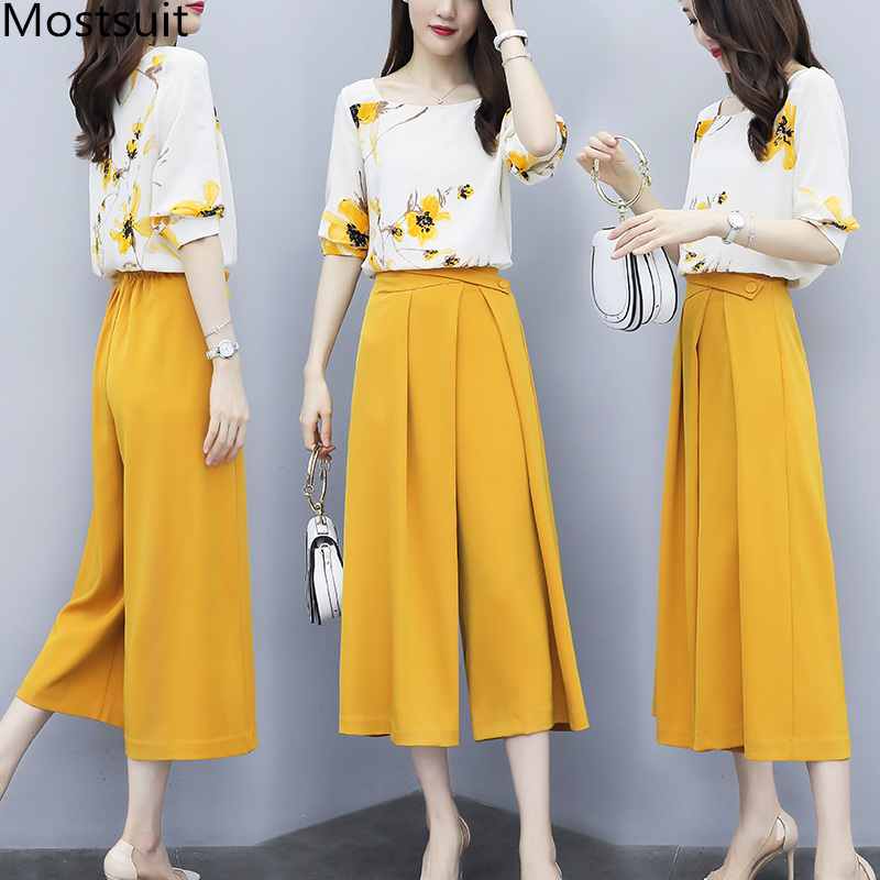 Yellow Summer Chiffon Two Piece Sets Outfits Women Plus Size Printed Blouses And Wide Leg Pants Suits Office Elegant 2 Piece Set