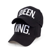 KING QUEEN big bone embroidery couple baseball cap unisex cotton adjustable snapback hat my fashion Panama high quality cheapu(China)