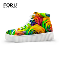 FORUDESIGNS3D Flower Men High Top Shoes Colorful Floral Creepers Lace Up Platform Flats Ankle Shoes Ladies Casual Zapatos Mujer