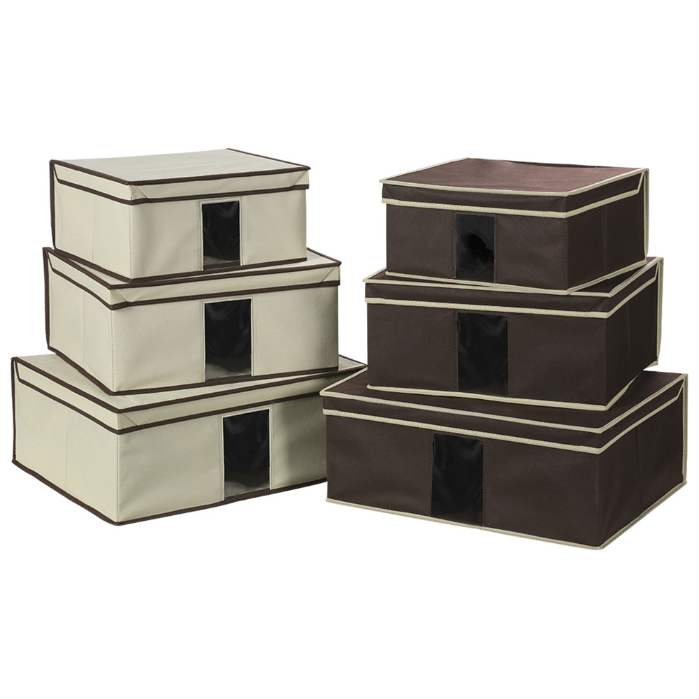 Finether Set Of 3 Foldable Fabric Storage Box Case With