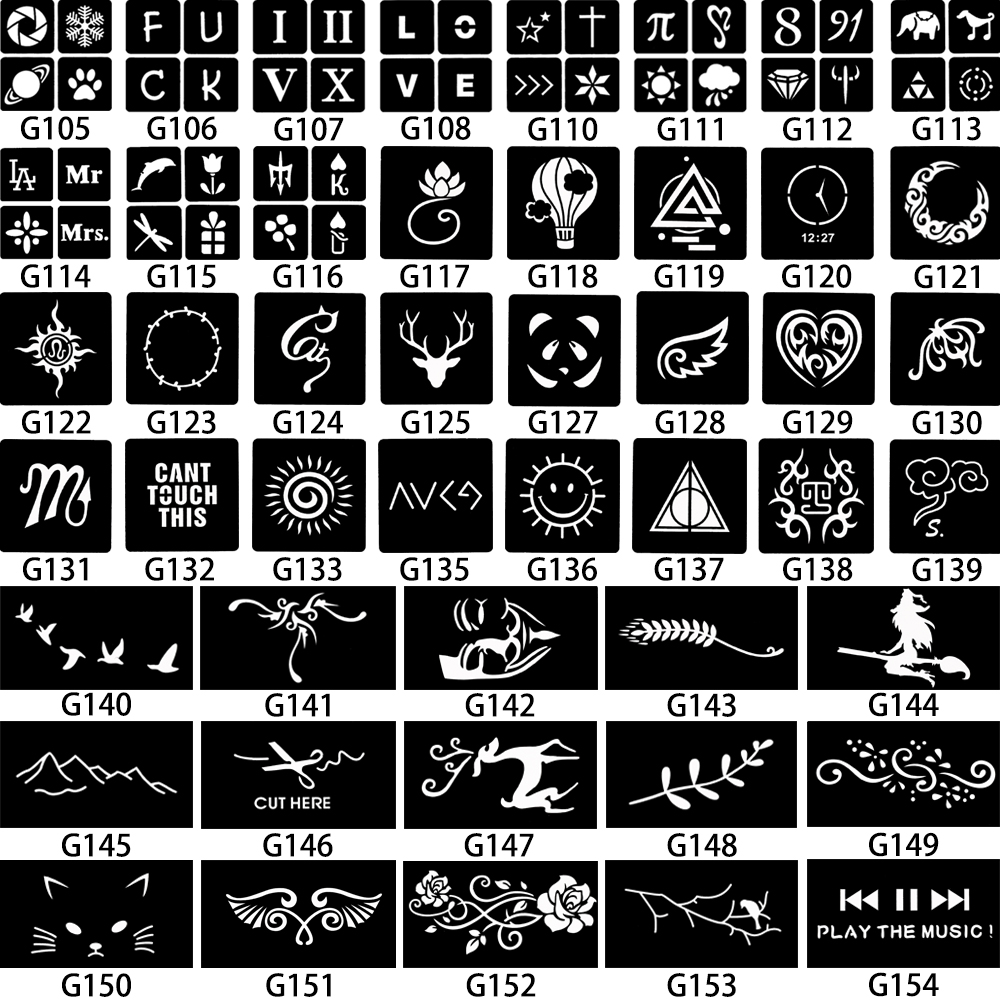 Us 0 41 31 Off 1 Sheet Small Henna Tattoo Indian Stencil Music Play Button Word Design Women Back Body Art Painting Mehndi Tattoo Template G154 In