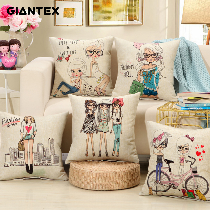 FLC, Cute Girl Pattern Linen Cushion Cover Decorative Pillowcase Home Decor Sofa Throw Pillow Cover 45x45cm 15